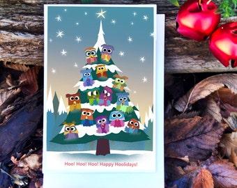 Owl Christmas Card / Owl Card / Owls Holiday Card / Woodland Christmas Card