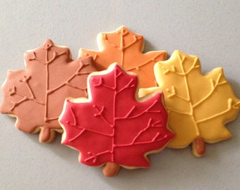 Fall Maple Leaf Sugar Cookies