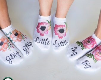 Floral Big Little G-Big Sorority Socks - Big Little Sorority Socks - Big Little Gift Idea - Sorority Gifts - no-show socks sold by the pair