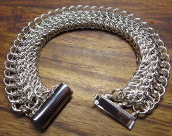 925 sterling silver half Persian three in one chainmail bracelet