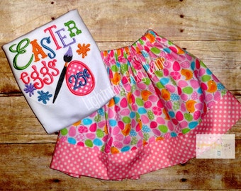 girls Easter outfit girl Easter outfits Easter egg skirt toddler girls easter skirt set skirt with matching shirt pink aqua purple polka dot