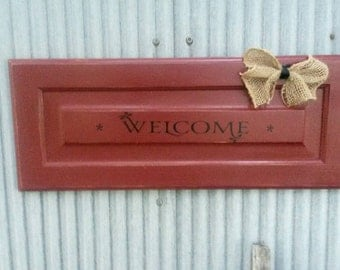 Repurposed Welcome Sign with Burlap bow
