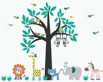 Kids Tree Fabric Wall Sticker Decal Jungle Wall Decal REUSABLE and REMOVABLE Fabric Decal - C100C