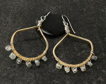 Hoop Earrings with Labradorite - Labradorite Drop Earrings - Labradorite and Brass Hoops