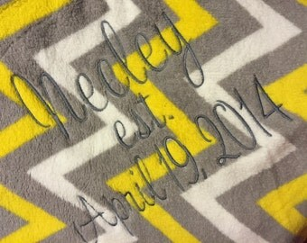 Gray and Yellow Chevron Fleece Blanket with monogram