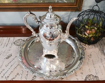Oneida Royal Provincial Coffee Pot - Oneida Round Serving Tray - Two Piece Serving Set - Vintage Oneida Silver Plate