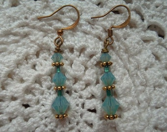 Handmade Earrings Aqua Blue Earrings Earrings Gold Earrings Dangle Earrings Blue Earrings