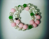 "Arm Candy. ""The PrettyGirl"" 2 piece bracelet set. Alpha Kappa Alpha inspired."