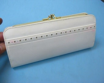Vintage 1960s Womens Baronet White Vinyl Purse & Coin/Checkbook Holder