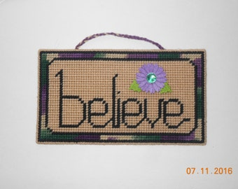 BELIEVE wall hanging in plastic canvas