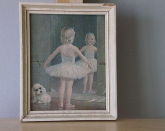 Vintage Ballerina Girl and Dog Print On Canvas