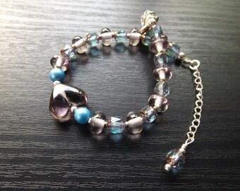 Violet and Blue Lampwork Heart Bracelet