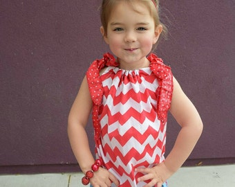 4th of July dress - pillowcase dress - tunic - summer dress - girl's dress - Red, white and blue - Lobster dress - Red Dress - Ready to Ship