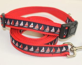 Nautical Sailboat Dog Collar and Leash