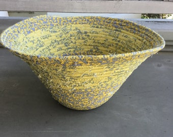 Yellow and gray fabric bowl