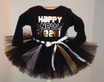 nb 0/3 3/6 6/9 12 18 24 months gold Happy New Year Onesie and Tutu outfit set  Baby's 1st New Year's 2016 holiday m month size newborn