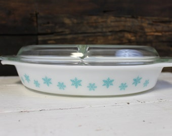 Pyrex Snowflake Oval Divided Dish, Pyrex Cinderella Divided Dish