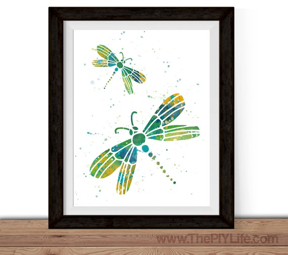 Home Decor Watercolor Dragonfly Wall Art Gift By Thepiylife