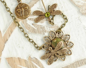 Dragonfly Necklace, Green Dragonfly Pendant, Rhyolite Beads, Woodland, Olive Green, Nature Jewellery, Necklace