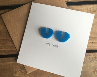It's Twins (Boys) Card with detachable baby feet magnet keepsake