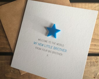 Welcome to the World: My New Little Brother from your Big Brother Card with detachable magnet keepsake