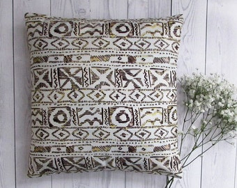 "African Pillow Cover, Woodin print cotton fabric pillow cover for 18"" x 18"" inserts - Ref: 00BY"