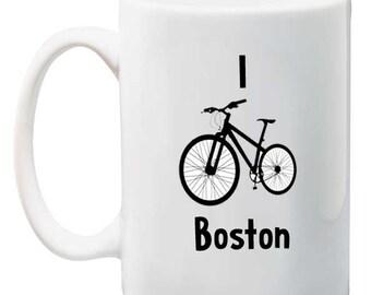 I Bike Boston Tea, Coffee Mug 11 ounce oz
