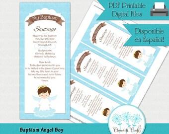 Bautismo Angel niño oración imprimibles / tarjeta / marcador / Oración / Recuerdo Bautizo Niño