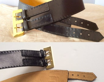 Vintage French vintage handmade black leather belt double buckle leather corset belt vintage wide leather corset belt hand made in France