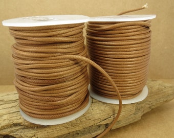 Light Brown Waxed Cotton Cord, 2mm Brown Cotton Cord, 25 Meter Brown Cord, Cotton Necklace Cord, Item 711c