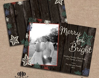 CUSTOM Christmas/Holiday Card - Rustic Wood & Snowflakes