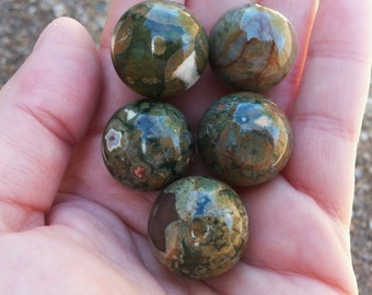 Rainforest Jasper (Rhyolite) Sphere ~ One 20mm Reiki infused crystal ball, marble
