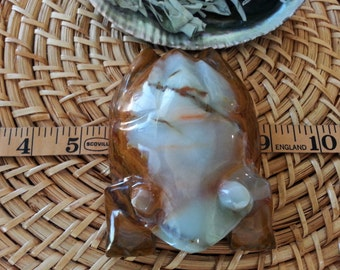 Pakistani Onyx Frog ~ One Reiki Infused gemstone frog approx 4 inches long (E03)