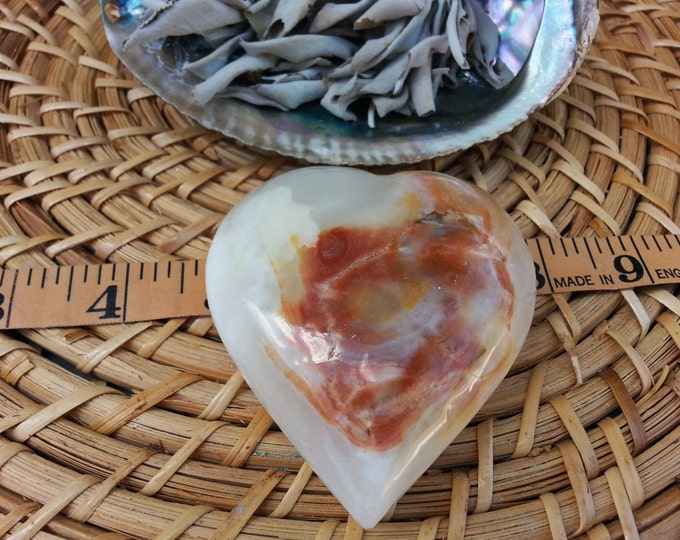 Pakistani Onyx Heart ~ One Reiki Infused gemstone heart approx 3 x 3 inches (E09)
