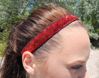 Womens Sport Red Headband - Red Glitter Headband Adult - Womens Headbands for Women - Cheer Headbands for Girls