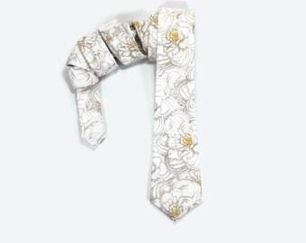 Peony tie, skinny tie, white floral tie, white grey yellow, floral narrow tie, peony accessory