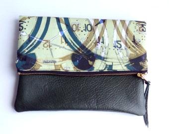 Time clutch purse, leather base fold over clutch bag, dipper bag, digital print clutch