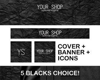 Black Glamour Shop Banner Icon Set Etsy & Facebook Minimalistic Modern Black Fashion