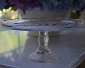 vintage Jeannette harp glass cake stand, pedestal with gold trim detail