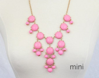 Pink Mini Bubble Necklace Bib Necklace Pink Necklace