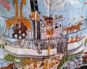 "SALE  Mystic Seaport Museum 100% Silk Scarf The Animals Marched Art by Elizabeth Mumford 35"" x 35"""