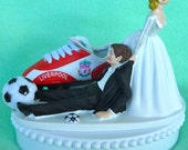 Wedding Cake Topper Liverpool F.C. Football Club Soccer Themed w/Bridal Garter Sports Fan Fun Bride and Groom Unique Humorous Sporty Ball