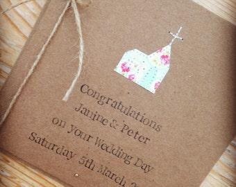 Personalised Wedding Card, Handmade Wedding Card, Rustic Card, Vintage Bride, Mr & Mrs Card