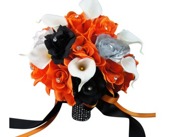 """10"""" Bouquet: Orange, Black, Silver Artificial Roses with Real Touch Calla Lily"""