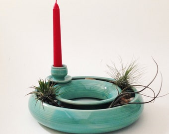 Hand Crafted Turquoise Candle Planter Combo
