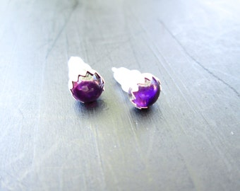 Amethyst stud/post earrings in sterling silver