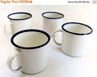 SALE Vintage Enamel Cups, Four Small White Mugs, Enamelware