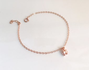 Tiny Rose Gold Elephant Bracelet, Perfect gift for your best friend, Good Luck Elephant Bracelet, Silver Elephant Bracelet, Gold Elephant