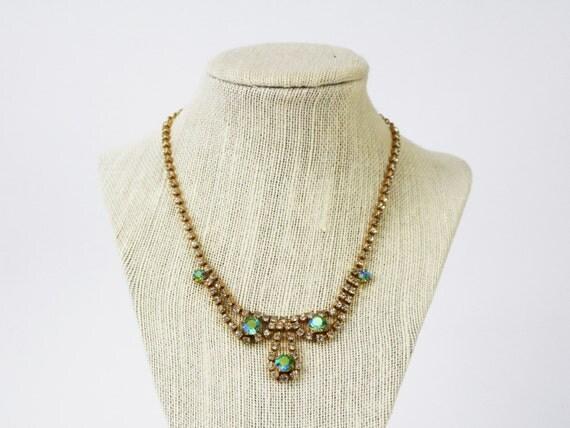 Aurora Borealis Rhinestone Necklace - Gold Rhinestone Bridal Necklace - Vintage 1950s White and Blue Stone Necklace - Something Blue