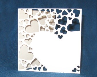 Hearts Collage Card, Valentine's Day Card, Hand Cut Card